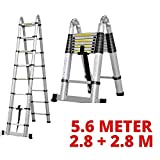 EQUAL Portable and Extension 19 Feet Double Telescopic Folding Aluminium Ladder for Household & Outdoor; 2.8+2.8 Meter; Anodized Silver