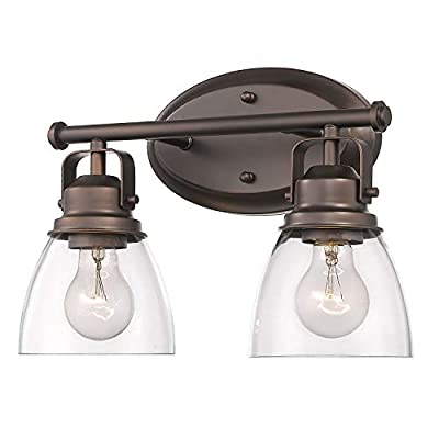 Fanyate Antique Industrial Wall Sconce, 2-Light Bathroom Light Fixture Oil Rubbed Bronze Vanity Light with Clear Glass Shade Suitable for Bathroom Living Room Hallway ORB