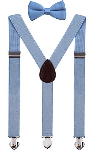 WDSKY Mens Suspenders and Bow Tie Set for Wedding with Heart Clips 47 Inches Sky Blue