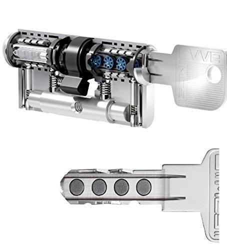 EVVA MCS Hochsicherheits-Doppelzylinder mit 5 Schlüssel, Länge (a/b) 46/46mm (c=92mm), einzigartige Magnet-Technologie (EVVA IKON Entwicklung), Not-u. Gefahrenfunktion BSZ, Modularbauweise, Aufbohr-, Abreiß- und Ziehschutz