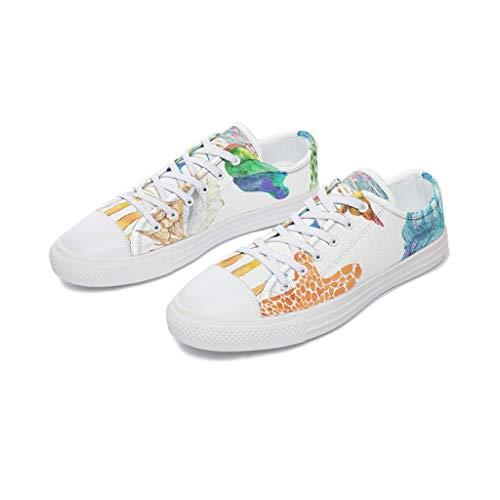 RNGIAN Damen Seestern-Schuhe aus Segeltuch mit niedrigem Oberteil, Freizeit-Baseballschuhe für Mädchen, Weiß - weiß - Größe: 45 EU