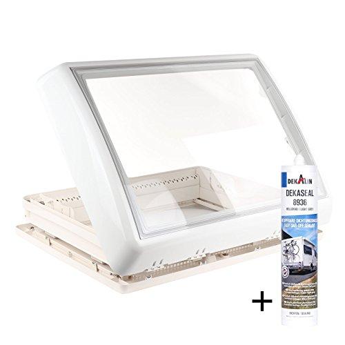Dometic Midi Heki 70 x 50 cm für Dachstärke 30-34 mm mit Zwangsbelüftung + Dekalin Dichmittel für Wohnwagen oder Wohnmobil