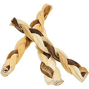 7″ Bully Stick Rawhide Braids for Dogs (25 Pack) Natural Bulk Dog Dental Treats & Healthy Chew Bones for Aggressive & Passive Chewers, Beef Best Low Odor Thick Pizzle Stix