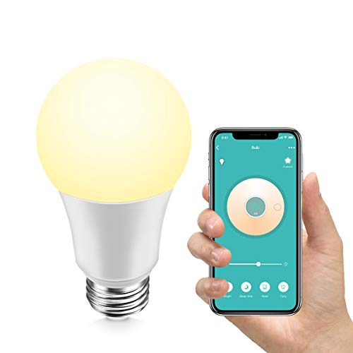 Konke Smart WiFi LED Bulb Dimmable, E26,9W,Compatible with Alexa,Google Home,Assistant,No Hub Required, Colour Temp Adjustable,White,1Pack