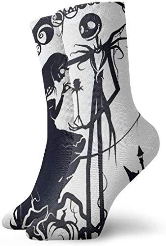Calcetines de hombre para hombre Pesadilla antes de Navidad Calcetines de compresión de pintura de Jack y Sally Calcetines de lujo con amortiguación