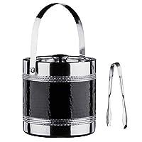 premier housewares 0507785 secchiello per il ghiaccio, acciaio inox, banda effetto martellato, nero