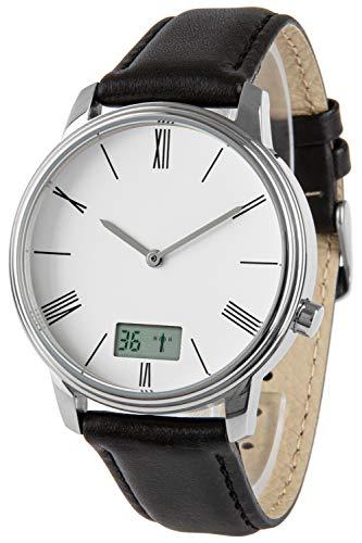 Funk-Armbanduhr, Edelstahl, mit Datums- und Sekundenanzeige, Leder-Uhrband