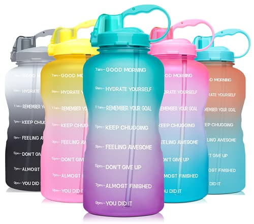 Venture Pal 64 OZ Water Bottle with Motivational Time Marker & Straw - Leakproof BPA Free Reusable Flip Top Water Bottle for Sports and Fitness Enthusiasts