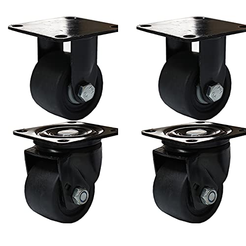 Ruedas con centro gravedad bajo 4 piezas Ruedas giratorias súper pesadas con carga de 600 KG,rueda giratoria de freno estas ruedas para mesa,gabinete,muelle,carro,fábrica-3inch 2Universal+2Directional