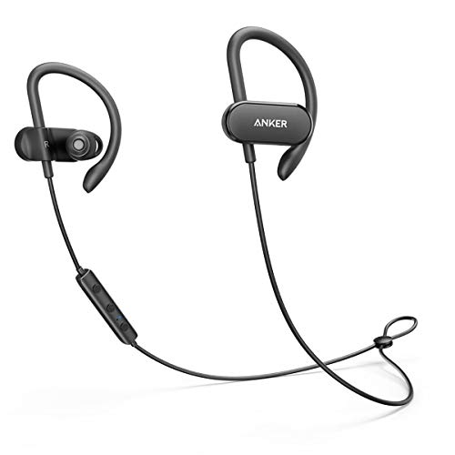 Soundcore [Upgraded] Anker Soundbuds Curve Wireless Headphones, 18H Battery, IPX7 Waterproof Bluetooth Headphones, Bluetooth 5.0, Built in Mic and Carry Pouch, SweatGuard Technology for Workout, Gym, Running, black (A3411011)