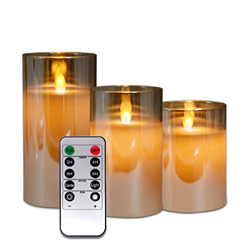 Brown Glass Flameless Candles Flickering with Remote Timers Gift Set of 3, LED Candles Battery Operated 4''5''6'' Real Flameless-Effect Candles for Wedding, Festival Decorations, Valentine's Day Gift