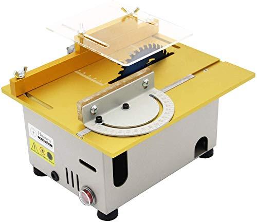 Huanyu Tischkreissäge Mini Tischsäge DIY Schnitthöhe 0-29mm Kreissäge für Handgefertigte Metall Kunststoff Acryl Holzmodellbauhandwerk, Tischgröße 240-360mm (300W, Gold)