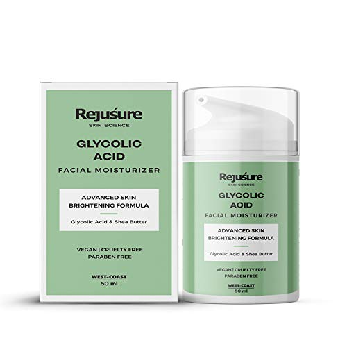 Rejusure Glycolic Acid Moisturiser Reduces Pigmentation, Dark Spots & Acne Cream for Face, 50 millilitre