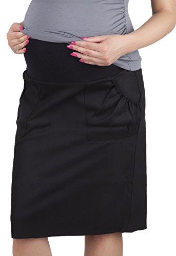 Mija - Umstandsrock mit Bauchband/sportlich Denim Jeans 3047 (46, Schwarz)