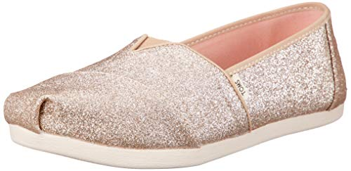 TOMS Women's Champagne Glitter Cloudbound Espadrilles Gold in Size 39