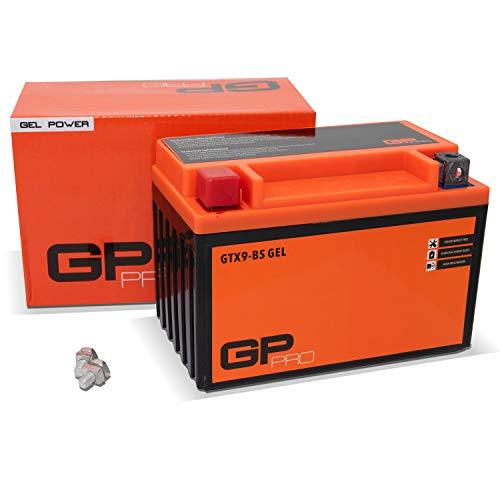 GP-PRO GTX9-BS 12V 9Ah GEL Batería de arranque (compatible con YTX9-BS / 50812) (Sin necesidad de mantenimiento/Sellado) Scooters y Motos Acumulador