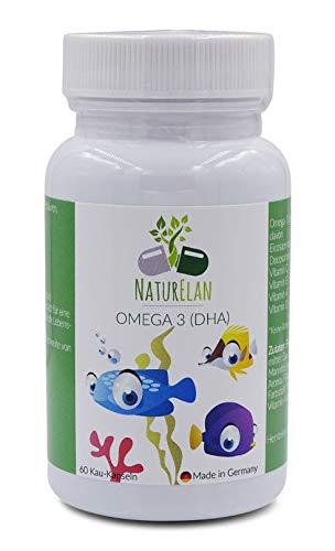 Omega-3 Kinder plus Vitamin A, Vitamin C, Vitamin D und Vitamin E für Kinder, NaturElan, 60 kleine Kau-Kapseln mit Johannisbeergeschmack, ultra-reine Omega-3 Fettsäuren (EPAX), zertifiziertes Fischöl