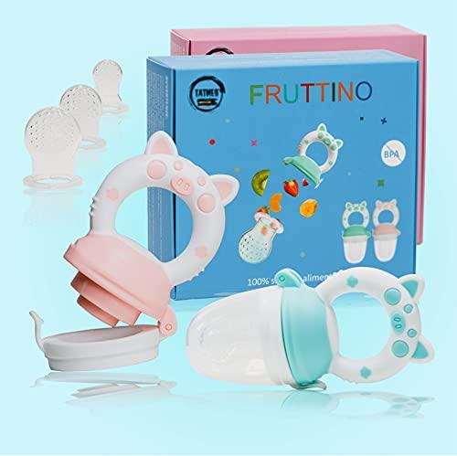 Ciuccio per Alimenti Frutta Neonati Bambini in Silicone Massaggiagengive Succhietto Svezzamento Dentizione Stimola Appetito Giocattolo 2 Colori Blu Rosa Senza BPA 100% Sicuro 3 Misure (ROSA)