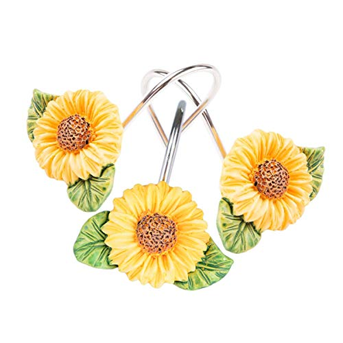 Dimaka Shower Curtain Rings Sunflower, 12 PCS Hooks Set, Stainless Steel Anti Dust Resin Flower Designed Shape Unique Decor for Bathroom (Sunflower)