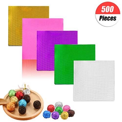 500 piezas 5 colores aluminio candy envoltorios,Envoltorios de dulces de chocolate Envoltura de papel de aluminio dorado para Navidad Envases de dulces y chocolate de bricolaje