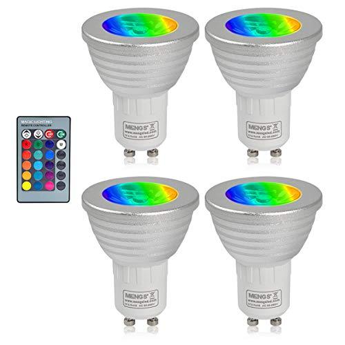 MENGS 4 Stück 3W RGB LED Reflektorlampe GU10 LED Farbige Licht Leuchtmit RGB LED Leuchtmittel Dimmbar mit Fernbedienung, ersetzt 20W, 60° Abstrahlwinkel 180lm für Ambiente Party Deko