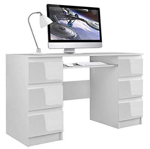 Shumee Computer-Schreibtisch Kuba 6 Schubladen 51x130x76 cm Weiß