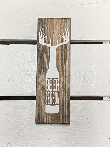 Ced454sy bier seizoen teken tekenen voor mannen vaders dag man grot alcohol rustieke herten Antlers Alcohol hout teken bier fles