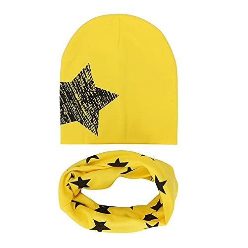 2 Unids/Lote Niños Sombrero Bufanda Conjunto Agradable Camo Estampado Algodón Bebé Beanie Collar Invierno Primavera Bebé Niño Niña Gorra Niños Cálidos Sombreros Bufandas-Big Star Yellow
