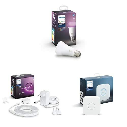 Philips Hue Bombilla Inteligente LED E27, con Bluetooth + Lightstrip Tira Inteligente LED 2m, con Bluetooth, Luz Blanca y Color + Puente de Conexión Controlable vía WiFi, Iluminación Inteligente