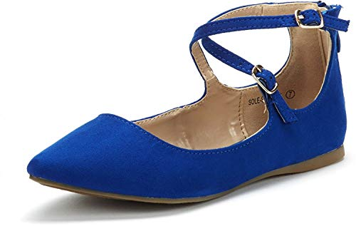 DREAM PAIRS Sole-Strappy Women's Ballerina Ankle Straps Ballet Flats Shoes Royal Blue Size 11 US/ 9 UK
