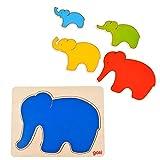 Goki - Puzzle de 5 Capas con Elefante, 5 Piezas (Gollnest & Kiesel 57883.0)