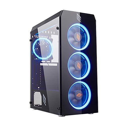 Noua Smash S5 Black Case ATX per PC Gaming 0.50MM SPCC 3*USB3.0/2.0 con 4 Ventole Dual Halo 40 LED Blu Frontale e Pannello Laterale in Vetro Temperato (AxPxL: 445x370x190 mm)