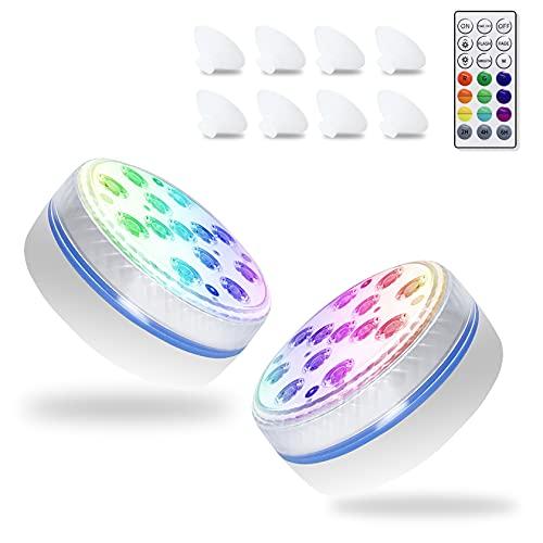 VecBro Unterwasser Licht IP68 Wasserdichtes LED Pool Beleuchtungen 16 Farben mit 4 Magnet, 4 Saugnäpfen und RF-Fernbedienung für Teichbrunnen Aquarien Vase Gartenparty 2 Pack