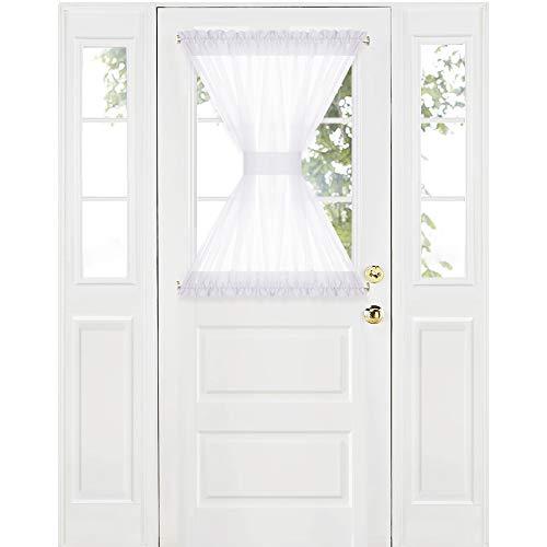RYB HOME Sidelights Curtain Sheer Door Shade Decoration Window Dressing Sheer Panel for Metal Door/Backdoor with 2 Tie Backs Wide 60 x Long 40 1 Panel White