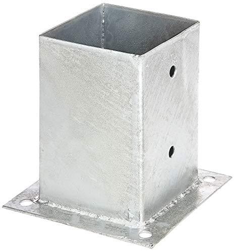 GAH-ALBERTS 216245 Ancre sur Platine pour poteaux en Bois carré   Acier Brut, galvanisée à Chaud   101 x 101 mm