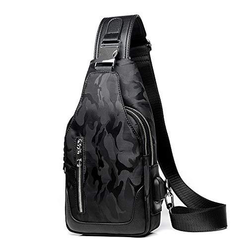 FANDARE Neu Brusttasche Herren Schultertasche Sling Bag Rucksack mit USB Umhängetasche Sporttasche für Wandern,Abenteuer,Sport, Reisen und Joggen Camo Schwarz C