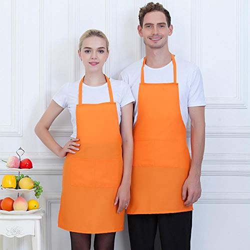 Dtcat Küche und Kochen Damenschürze,Polyester Baumwolle hängenden Hals Schürze,Home Küche Schürze @ Orange,verstellbare Kochschürze mit Taschen