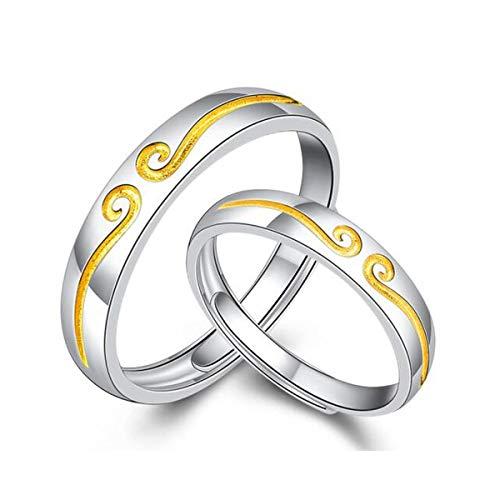 HND ZNXHNDSH Anillo de par, Plata de Ley 999 Pares del Anillo, Anillo Plateado Platino, Regalo del día de San Valentín de Apertura for la Novia y Esposa (Color : Silver)