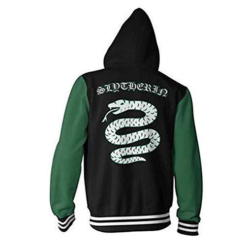 DAQAXGAO Harry Potter Hoodie Cardigan Sweatshirt, Harry Serie Slytherin 3D-Druck-Sweatshirt Unisex Zipper-Jacke Langarm-Kapuzenober,A,5XL