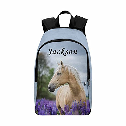 Personalized Bags with Name, Beautiful Palomino Horse Casual Teens Backpack for Girls Boys Shoulder Bookbags with Multiple Pockets