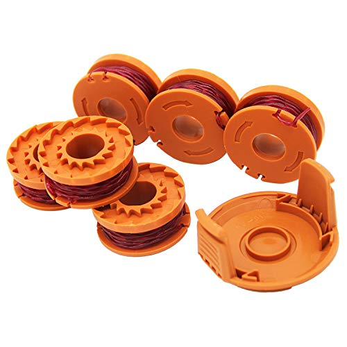 SWNKDG 6 Stücke Rasentrimmer Faden für alle 20V WORX Rasentrimmer und 1 Trimmer Spool Cap Edger Spool Cap, Kompatibel mit Worx WG180 WG163 WA0010