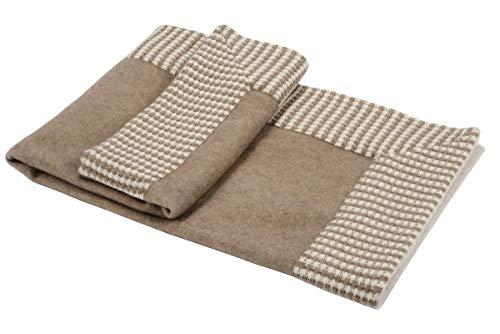 Artigiani del Cashmere Babydecke, 100 % Kaschmir, gewebt, Braun mit Strickkaschmir-Besatz, 10 cm auf einer Seite. 70 x 90 cm