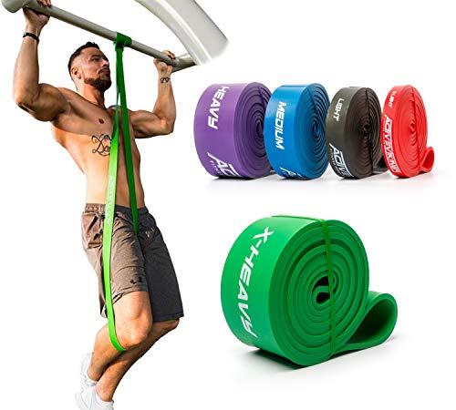 ActiveVikings® Pull-Up Fitnessbänder | Perfekt für Muskelaufbau und Crossfit Freeletics Calisthenics | Fitnessband Klimmzugbänder Widerstandsbänder (E - Grün : X-Heavy (sehr starker Widerstand))