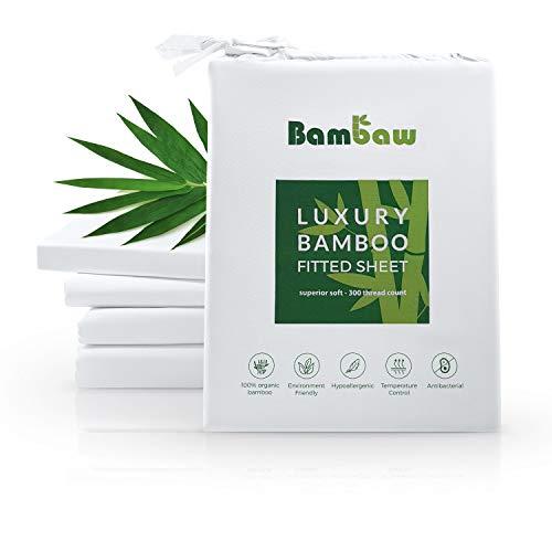 Bambaw Sábana Bajera de Bambú | Suave y Lujosa | Fitted Sheet | Tejido de Microfibra Bambu | Bed Sheets | Sostenible | Sábana Hipoalergénica | Transpirable | Blanco - 160x200
