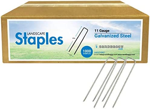 Sandbaggy 6 Inch Long Galvanized Landscape Staples SOD Staples Garden Stakes Square Pins 1000 product image