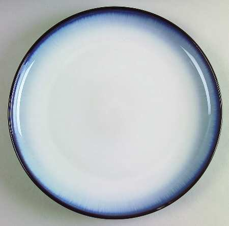 One Sango Concepts-Eggplant Salad Plate 8 1/4' D Blue Shade Band, Coupe