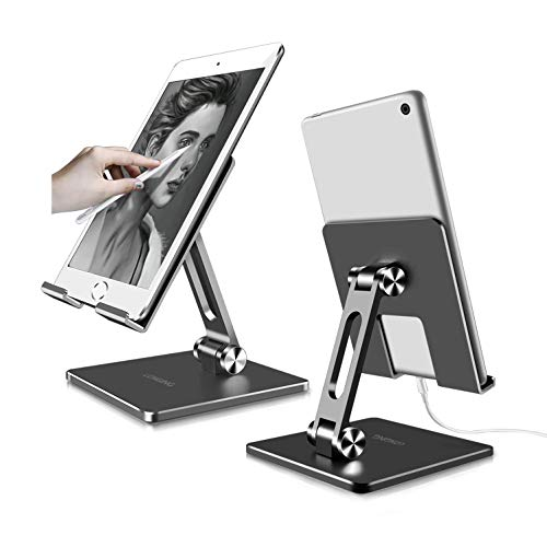 LONGING Holder Stand for iPad, Foldable and Adjustable Tablet Stands For Fire 7 8 10 Switch Samsung Galaxy Tab A 10.1 Surface Go iPad 12.9' 9.7' 10.5' iPad Air mini 2 3 4 ipad pro stand Tablet Holder