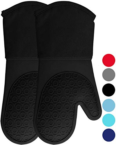 HOMWE Extra Long Professional Silicone Oven Mitt, Oven Mitts with Quilted Liner, Heat Resistant Pot Holders, Flexible Oven Gloves, Black, 1 Pair, 13.7 Inch