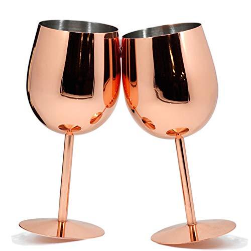 Paquete de 2 copas de vino de cobre de acero inoxidable, copas de metal, copas de cócteles, copas de vino de oro rosa, 17 onzas (oro rosa)