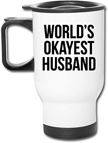 Bestqe Tazza da Viaggio con Manico, World's Okayest Husband Travel Mug Vacuum-Insulated Stainless Steel Easy-Clean Lid